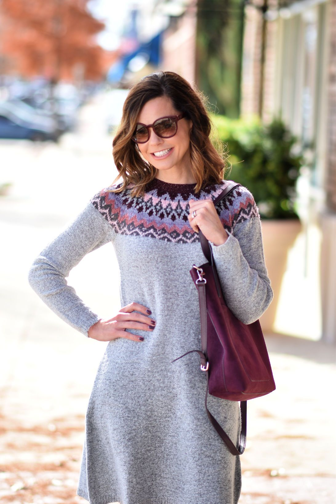 A Fair Isle Sweater Dress And Velvet Boots Get Your Pretty On Fair Isle Sweater Dress Winter Dress Outfits Sweater Dress [ 1638 x 1092 Pixel ]