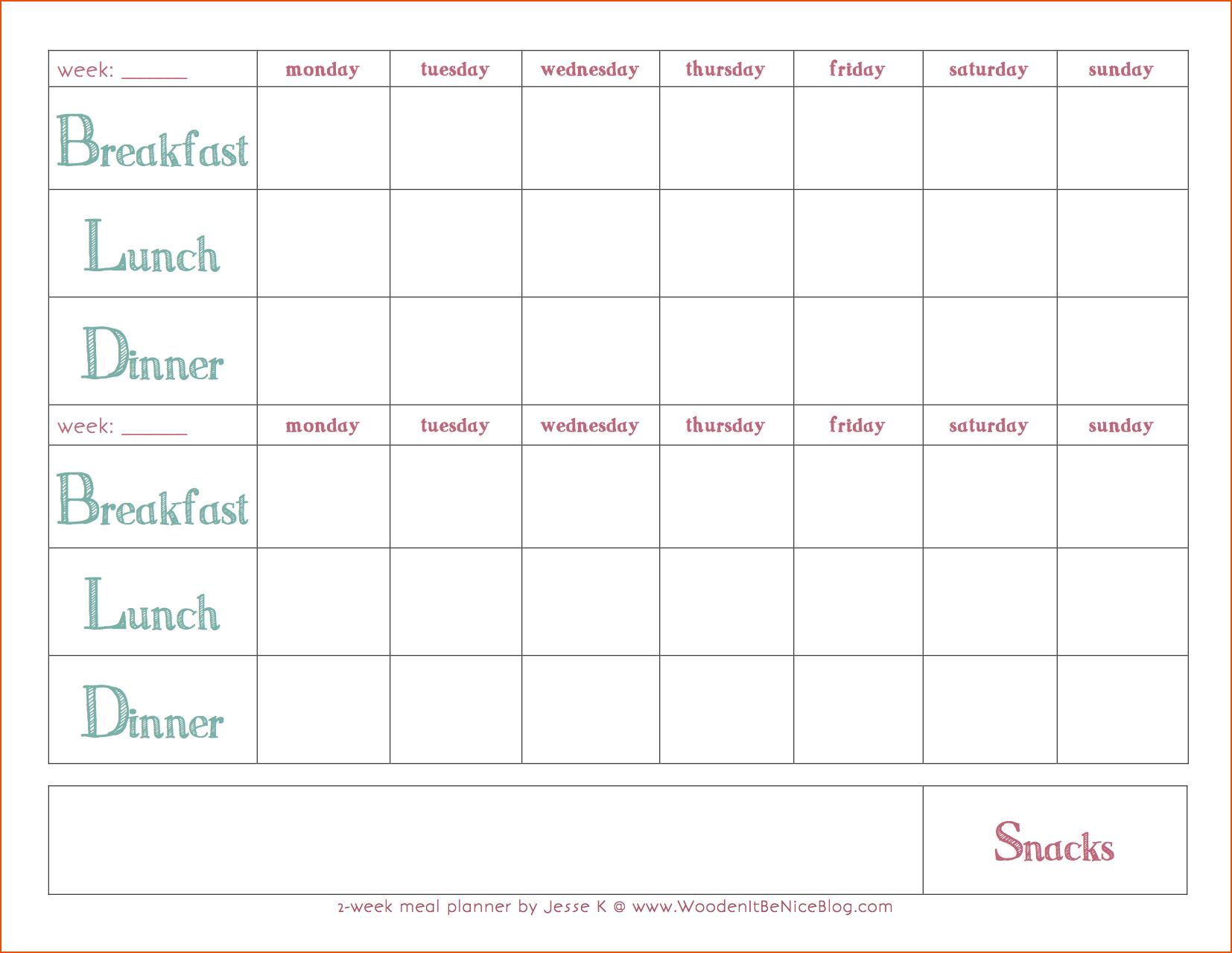 Weekly Meal Plan Template 2weekmealplanner Coastal