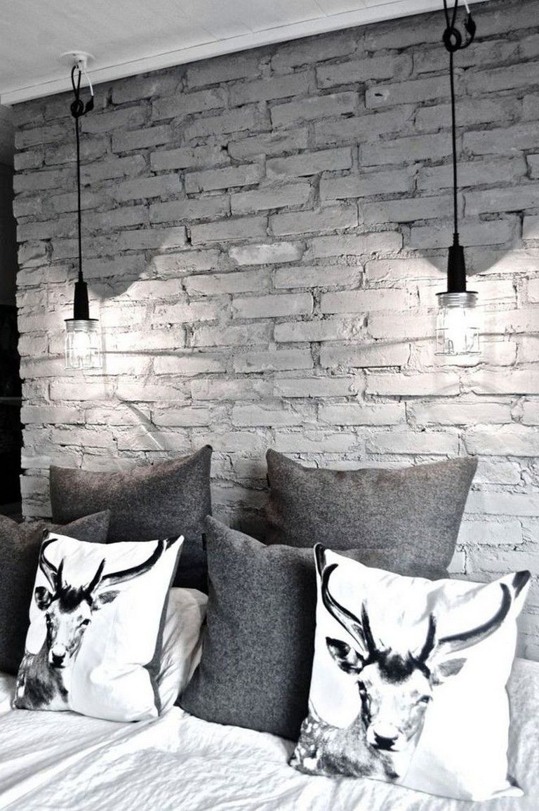 Loving This Feature Wall Made With White Brick Removable Wallpaper Feature Wall Bedroom Brick Wallpaper Bedroom Wallpaper Bedroom Feature Wall