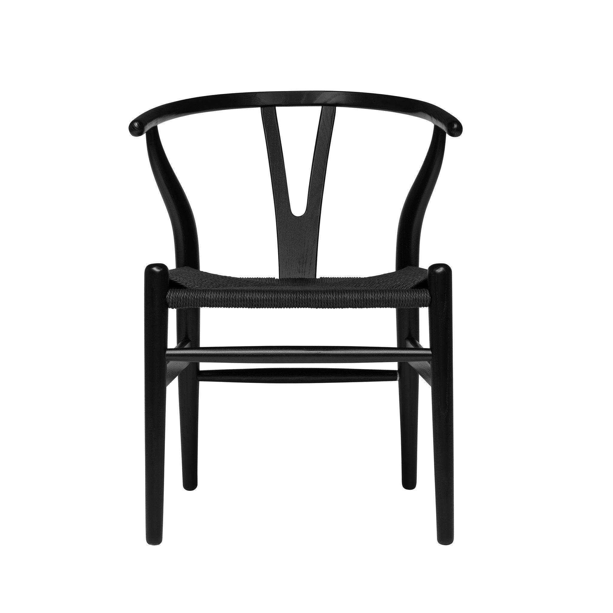 Wishbone Chair Black Black Woven Cord Solid Wood Dining Chairs