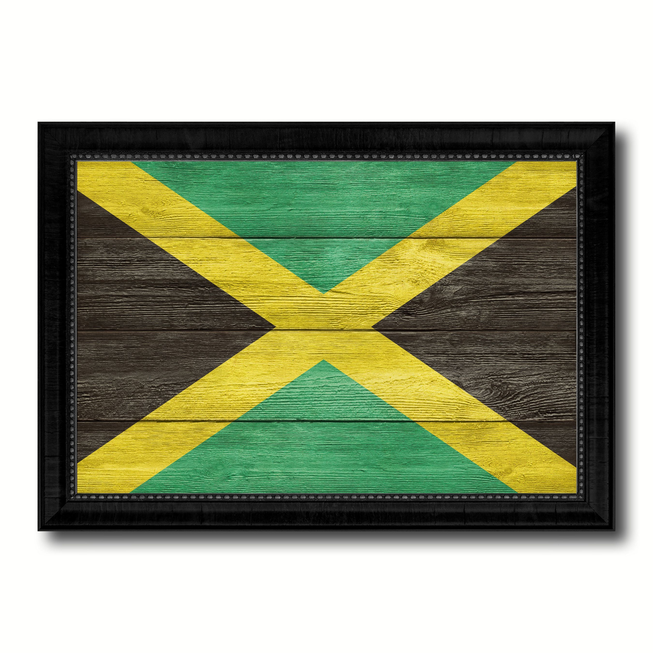 Jamaica Country Flag Texture Canvas Print with Black Picture Frame ...