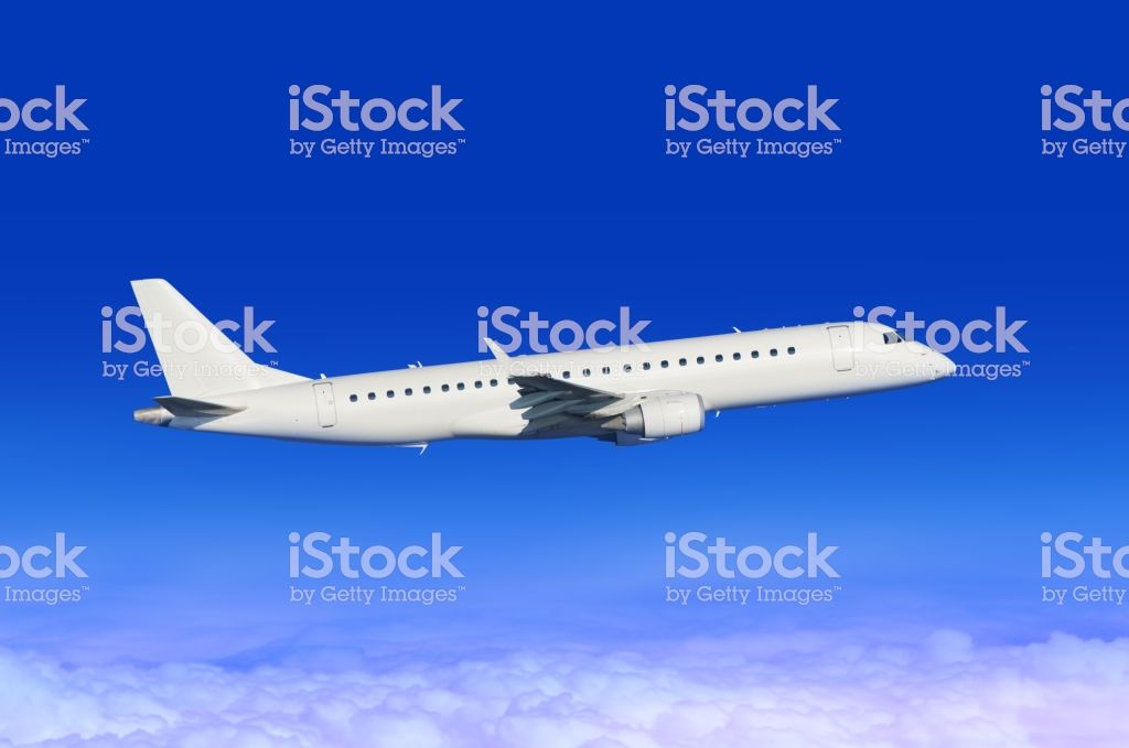 Flying White Passenger Plane In Blue Sky Industry Images Sky Photos Aircraft