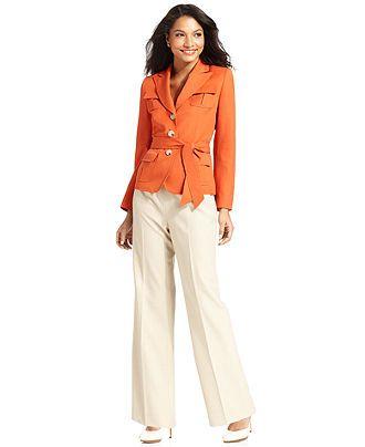 caecc683622 Le Suit Pant Suit, Belted Safari Jacket & Pants - Womens Suits & Suit  Separates - Macy's