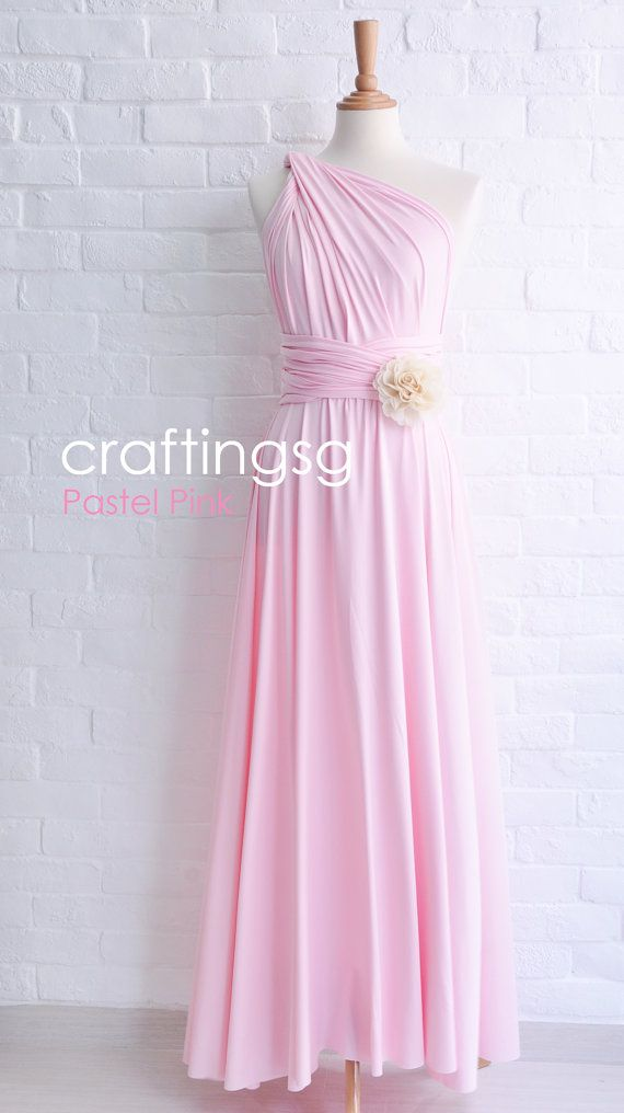 Bridesmaid Dress Pastel Pink Maxi Floor Length, Infinity Dress, Prom ...