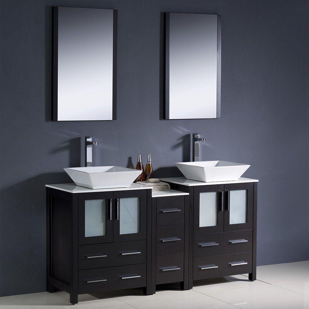 """Fresca Torino 60"""" Espresso Modern Double Sink Bathroom Vanity w/ Side Cabinet & Vessel Sinks"""