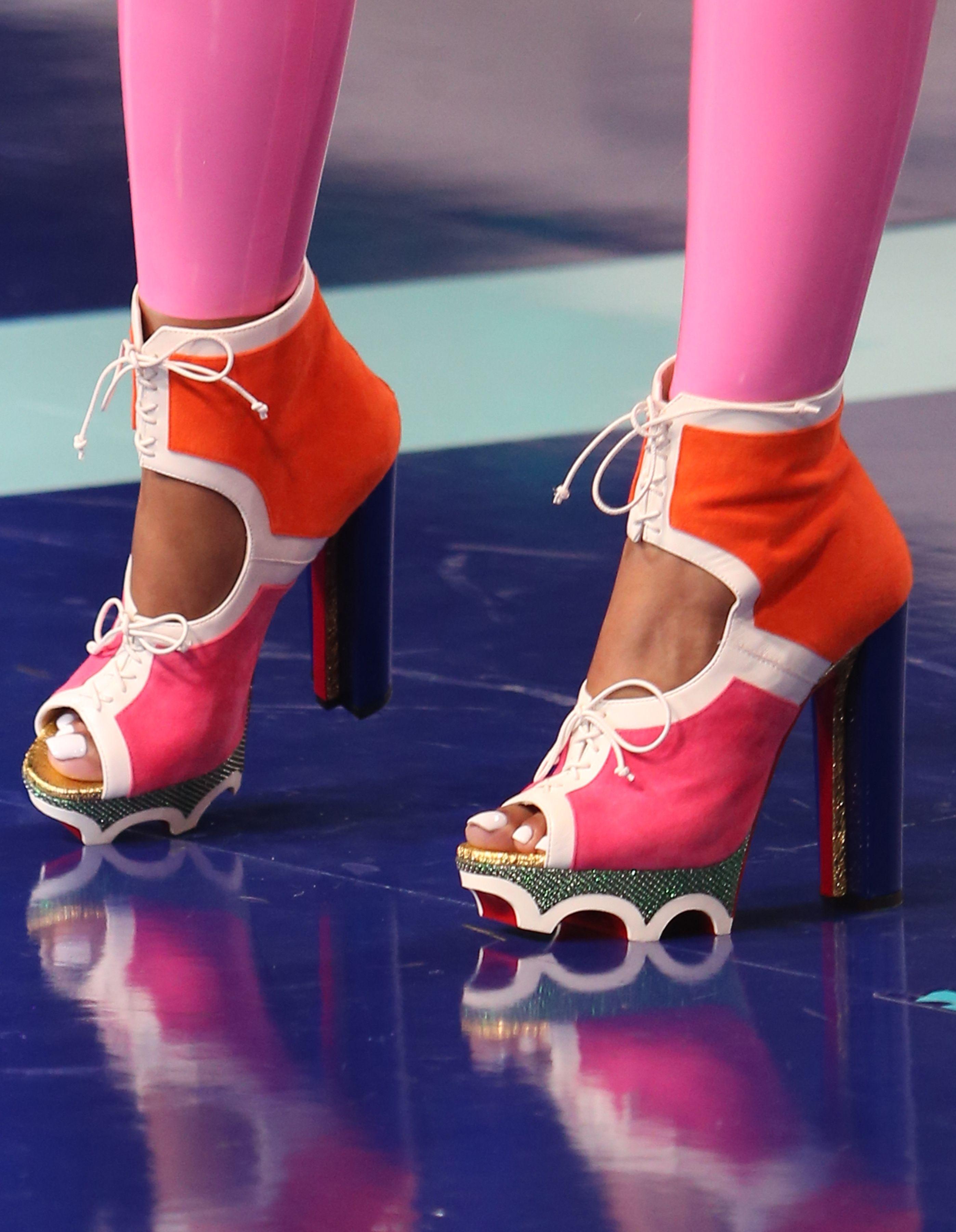 292fe1fbac4 Nicki Minaj Shocks in Christian Louboutin  Lolacrampon  Booties and  1  Million Worth of Diamonds