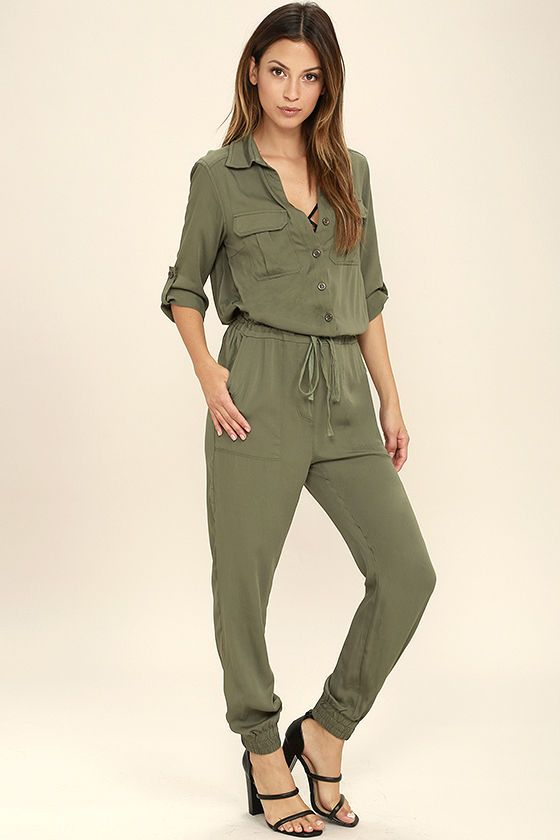 ed98b831134 Function and fashion become one with the Sensible Solution Olive Green  Jumpsuit! This woven jumpsuit has a collared neckline