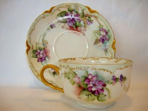 Delicate Fine Limoges Porcelain Cup and Saucer Se Haviland Limoges France 1894-1931