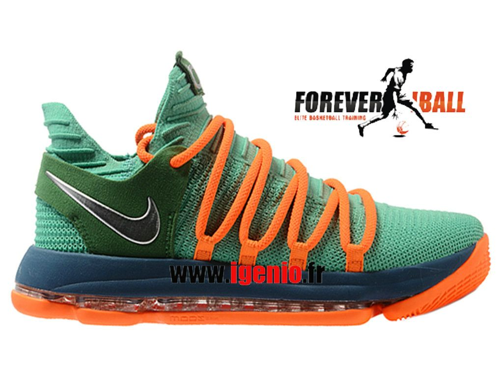 Nike Zoom KD10 EP - Chaussures de BasketBall Pas Cher Homme Vert Orange- Chaussure NBA