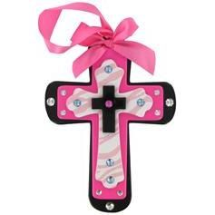 Wood Cross with Gems & Glossy Finish