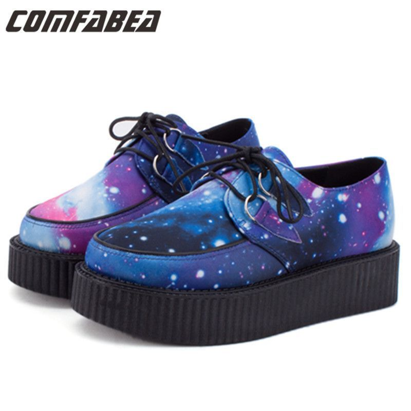 Size 35~40 HARAJUKU VIVI ZIPPER color block galaxy blue flat creepers platform shoes for woman casual women punk creeper