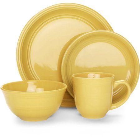 Mainstays 16-Piece Stoneware Dinnerware Set Assorted Colors - Walmart.com  sc 1 st  Pinterest & Mainstays 16-Piece Stoneware Dinnerware Set Assorted Colors Yellow ...