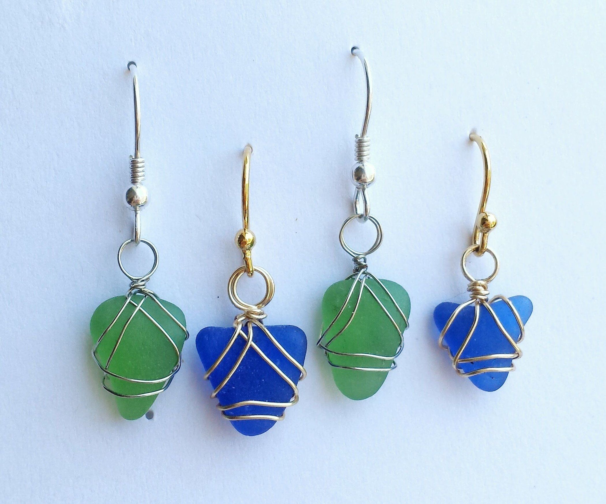 Floating Yellow Sea Glass Wire-Wrapped Hook Earrings