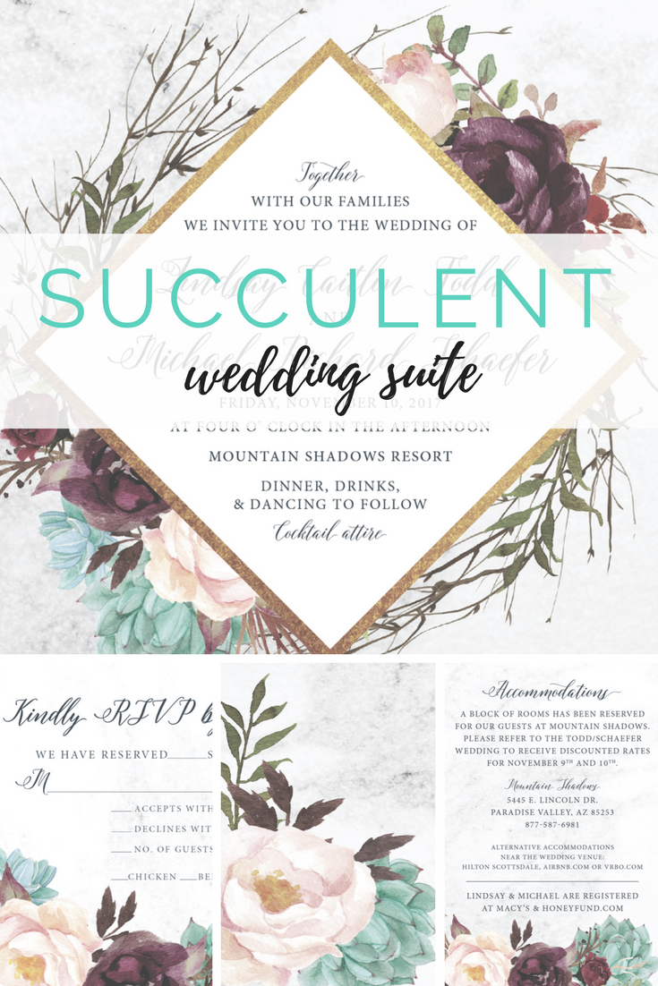 Rustic Succulent Wedding Suite Marsala and Sage