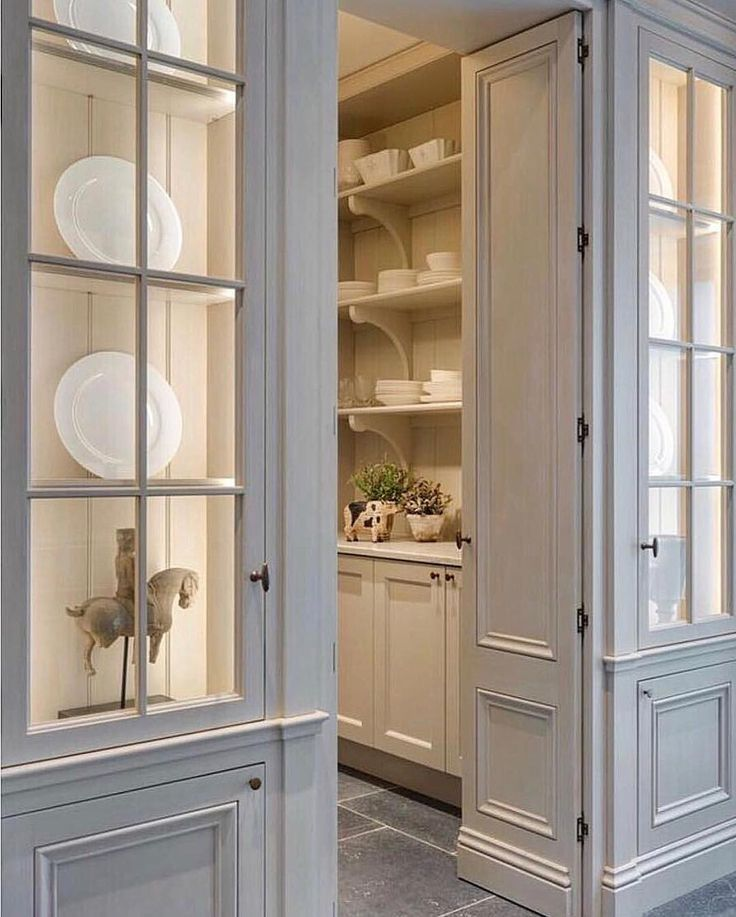Clean kitchen pantry with doors | Timeless: Kitchens ...