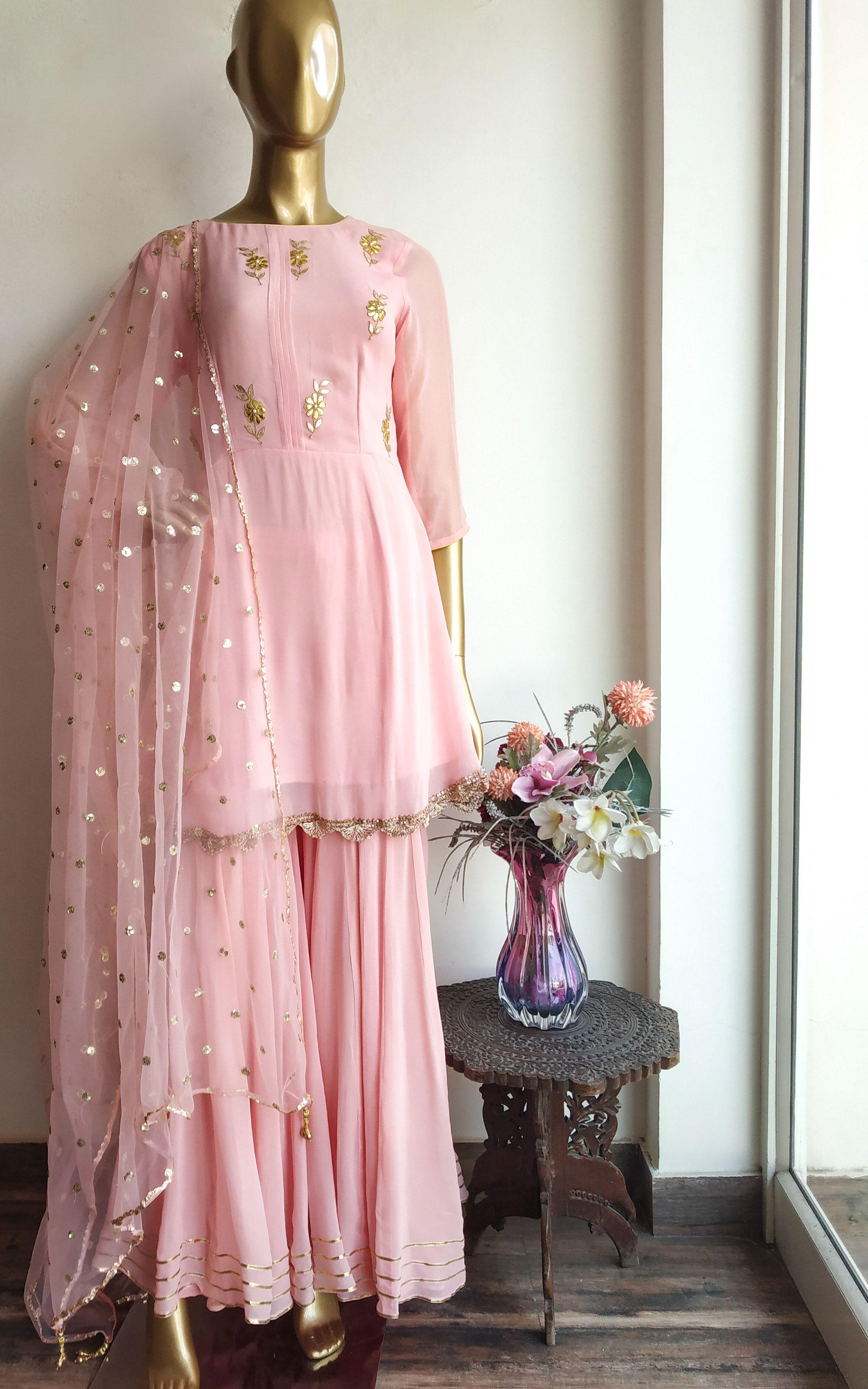 Light Pink Gota Patti Frock Style Sharara Set