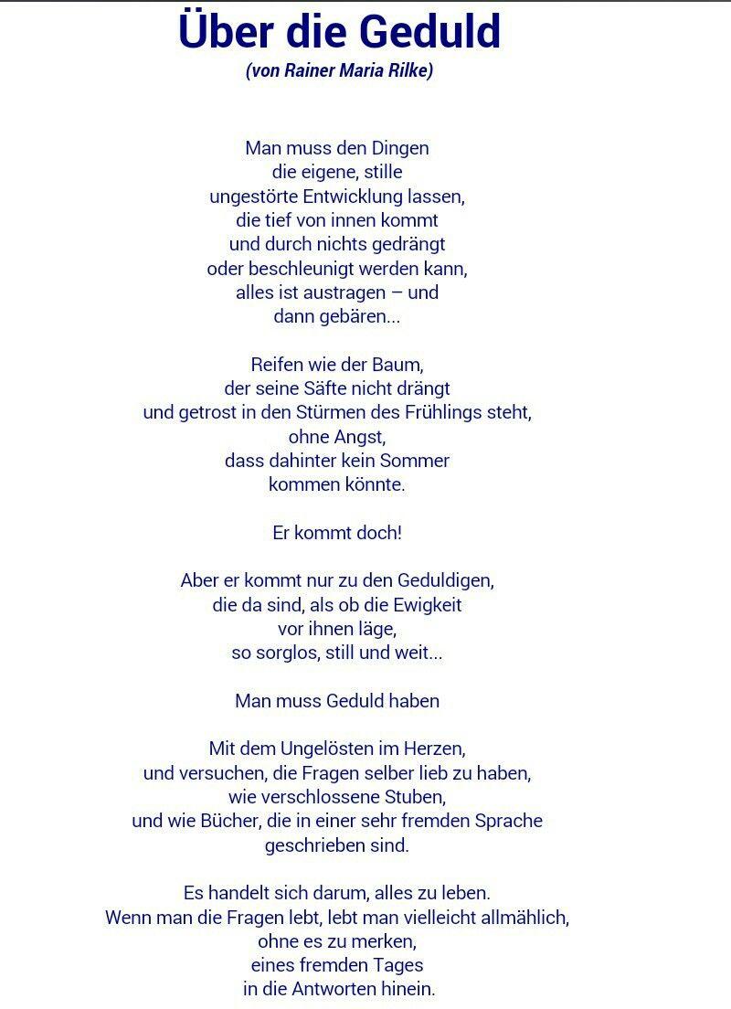über Die Geduld Rainer Maria Rilke Rilke Zitate Zitate