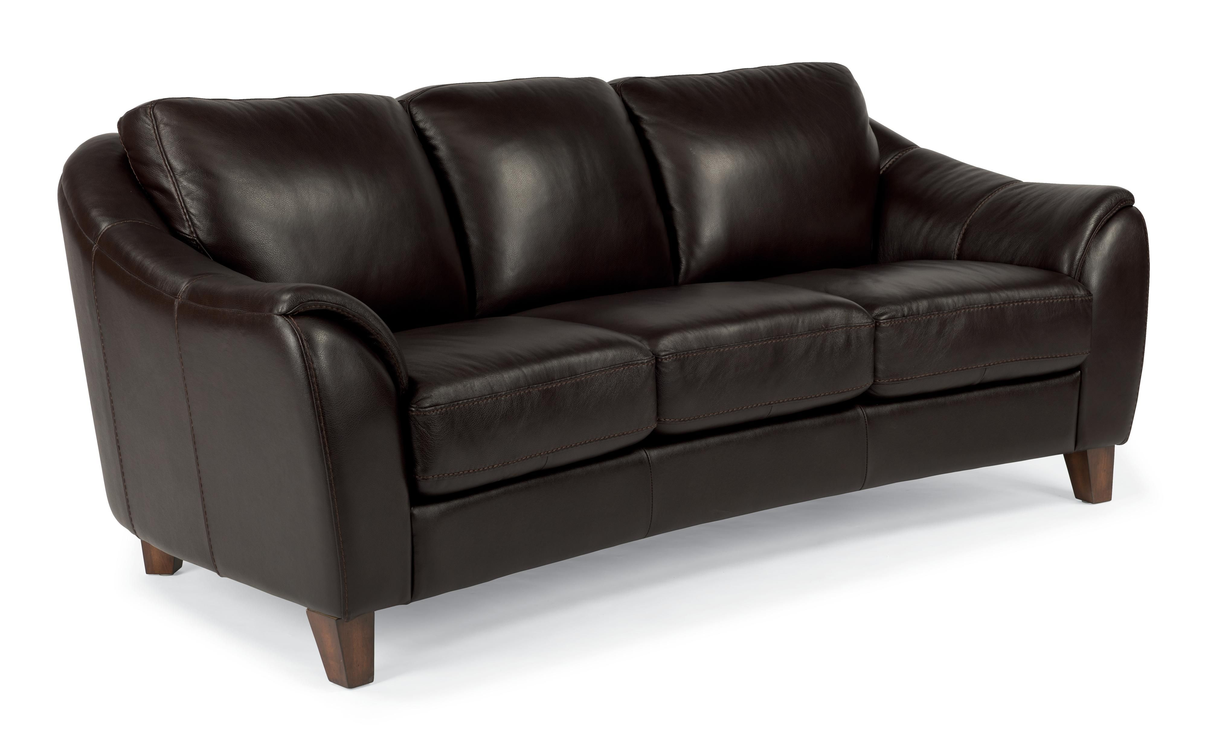 Leather Furniture Traveler Collection: Flexsteel Latitudes-Lidia Contemporary Leather Sofa With
