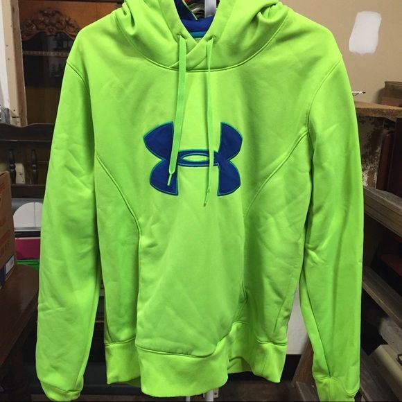 Under Armour sweatshirt Blue/green sweatshirt. Sized as a youth large, but fits like an adult small! Used lightly! Wants a new home!!  Under Armour Tops Sweatshirts & Hoodies