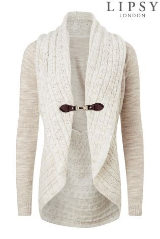 Buy Lipsy Pointelle Shawl Buckle Cardigan online today at Next ...