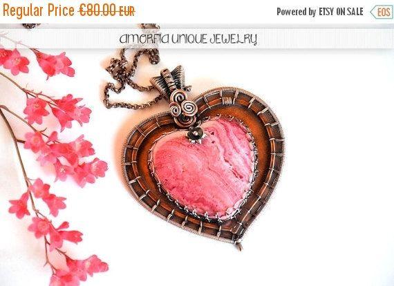 ON SALE Pink heart pendant   statement jewelry by amorfia on Etsy