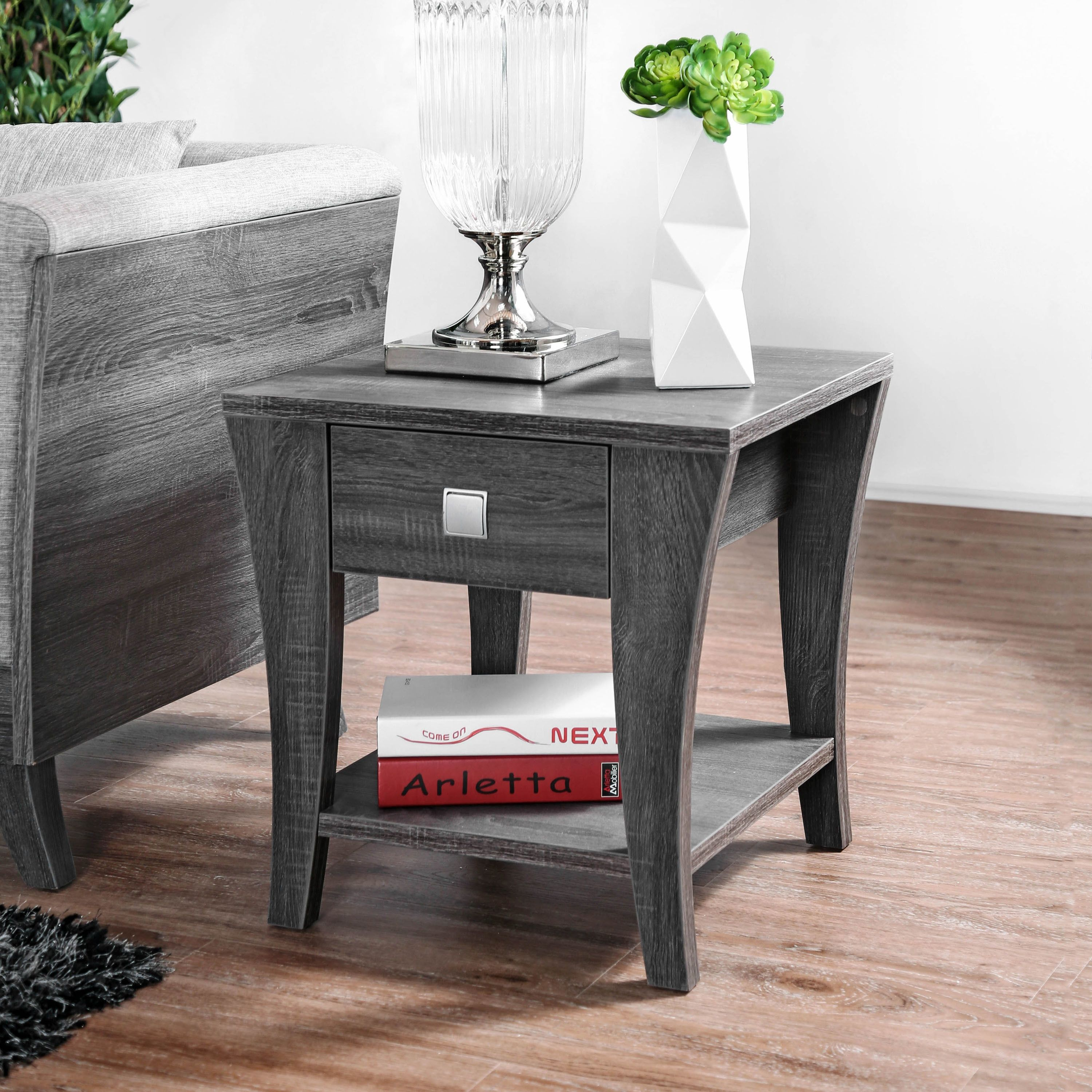 Furniture Of America Percy Contemporary Grey End Table Furniture