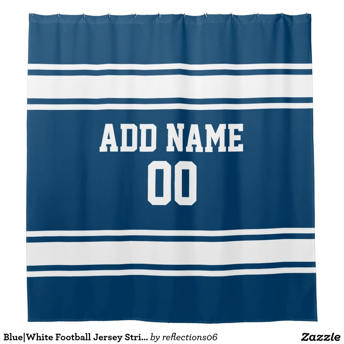 Blue White Football Jersey Stripes Shower Curtain Striped Shower