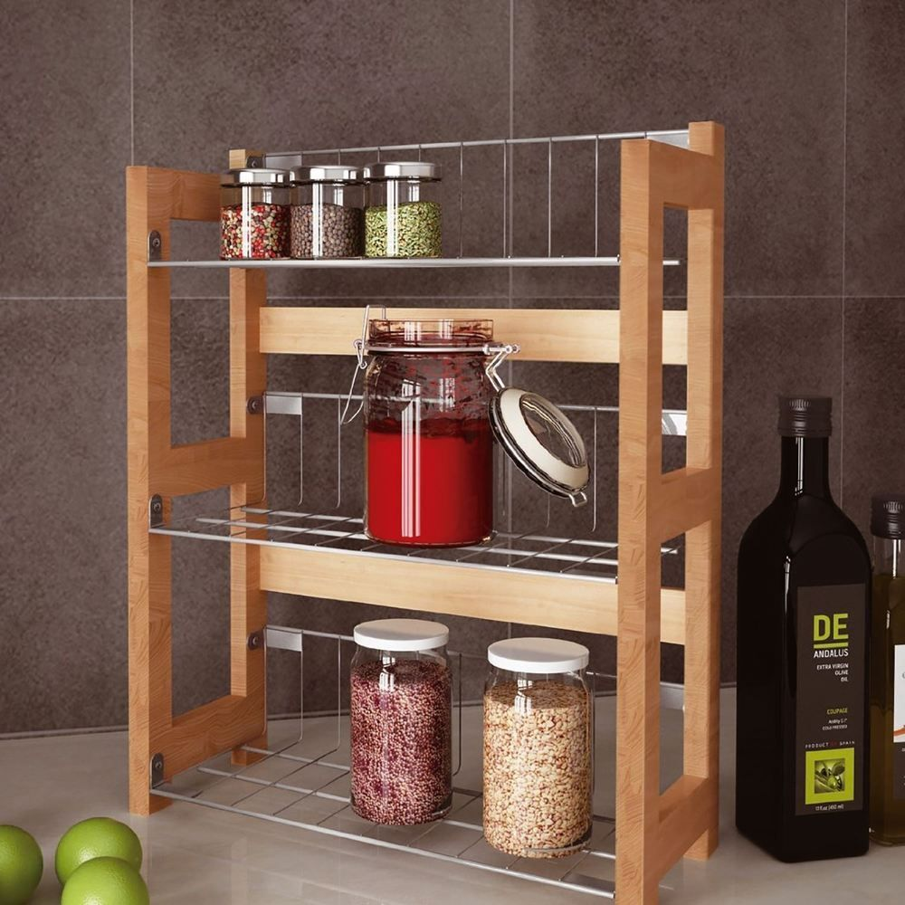 Kitchen Spice Organization 3 Tier Bamboo Spice Herb Rack Wall Mountable Or Kitchen Cupboard