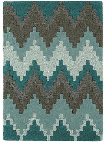Teppich Wohnzimmer Orient Carpet Skandinavisches Design MATRIX CUZZO RUG 100 Wolle 120x170 Cm Rechteckig Turkis