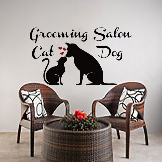 Wall Decals Dog Cat Grooming Salon Decal Vinyl Sticker Pet Shop - Vinyl decal cat pinterest