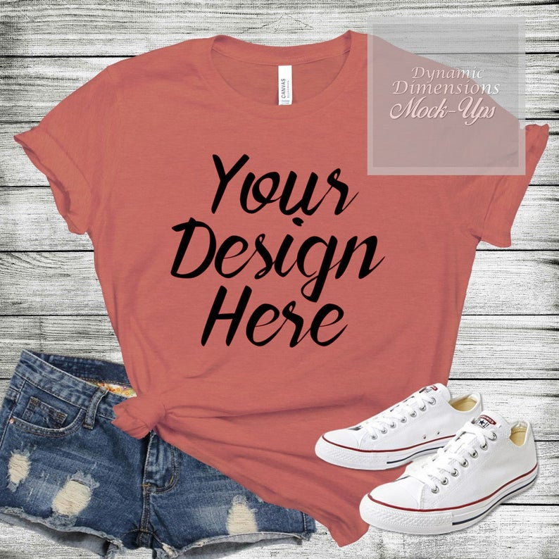 Download Bella Canvas 3001 Pink Unisex T Shirt Mock Up Shirt Template Etsy Shirt Mockup Shirt Template Shirts