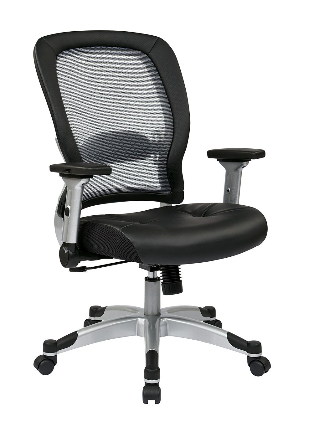 327 Series Professional Light Air Grid Back And Eco Leather Seat Chair Adjustable Lumbar Support Height Office Star Office Chair Cushion Bonded Leather
