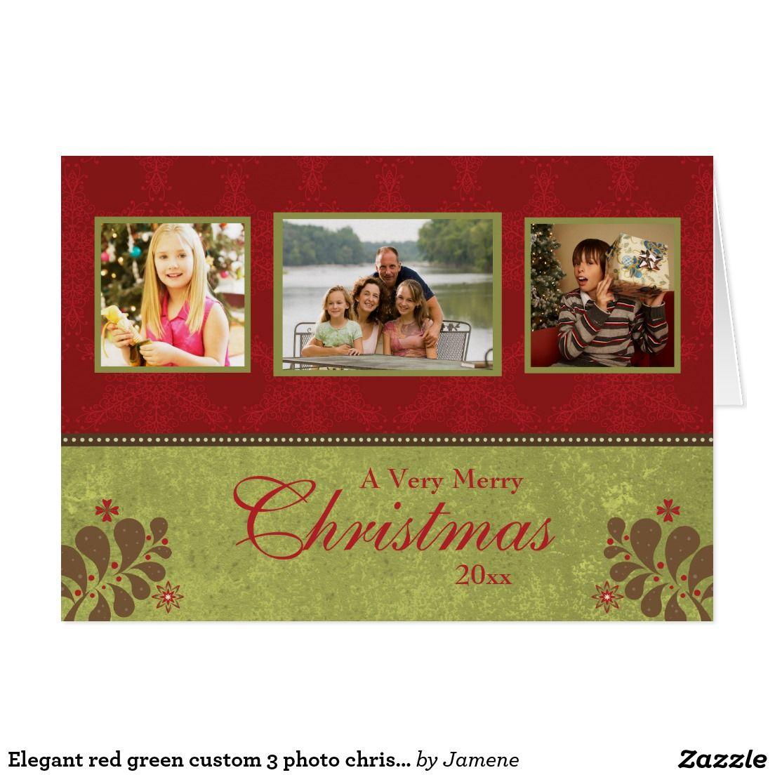 Elegant red green custom 3 photo christmas card | Custom PHOTO ...