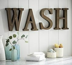 Merveilleux Wall Art Ideas Design : Bathroom Wash Metal Wall Art Letters Home Decor  Unique Creative Design