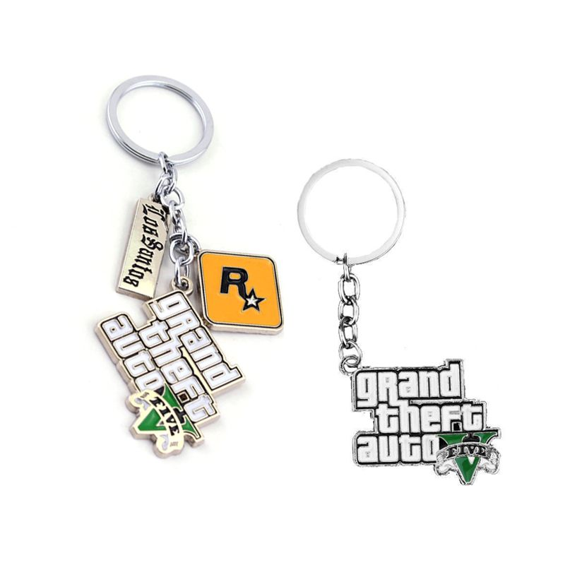 PS4 GTA 5 Juego llavero Caliente de La Venta! grand theft auto 5 llavero para los amantes de xbox pc rockstar llaveros titular llavero 4.5 cm joyería