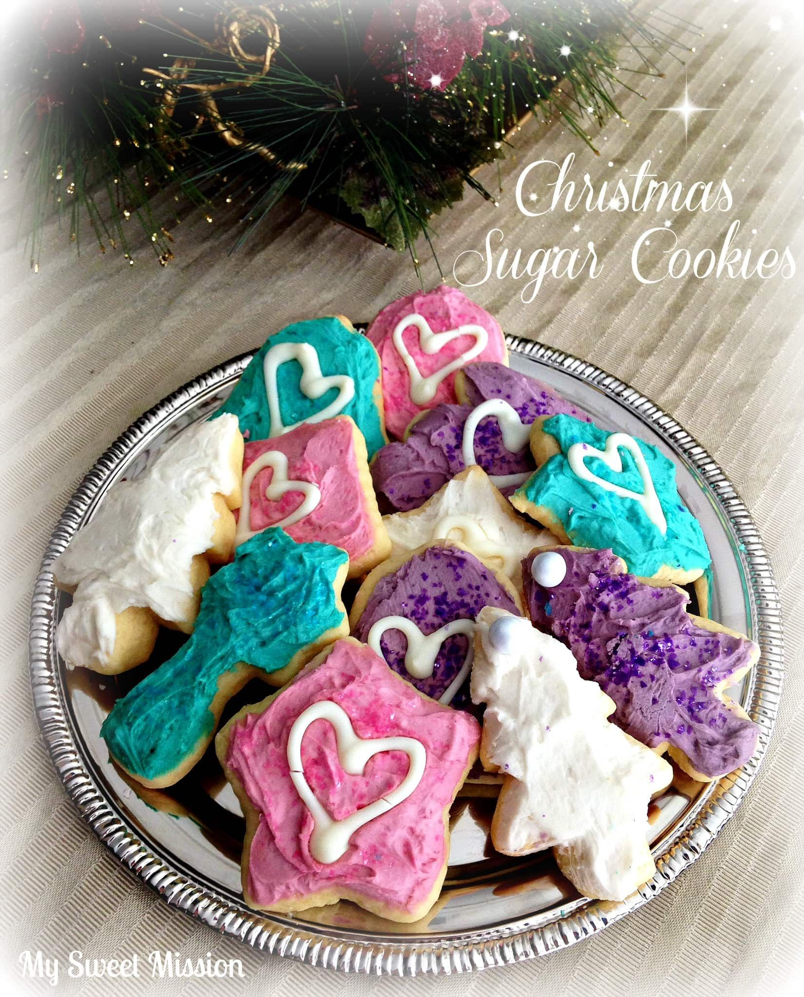 undefined My Pretty Christmas Sugar Cookies are deliciously buttery soft and decorated with pretty pastel colors