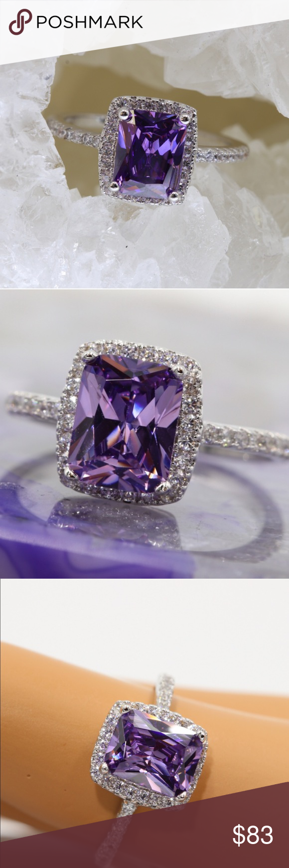 LUXURY ITALIAN BLING NEW LUXURY ITALIAN 5AAAAA 3 CARAT PURPLE ZIRCON WITH 40 AAA CLEAR ELEMENTS COMPLIMENTING IT THE HIGH QUALITY OF PLATINUM PLATING IN THIS RING! STONE MEASURES APPROX 7MM X 9MM SIZE 7 includes black velvet gift box ALPHA Jewelry Rings