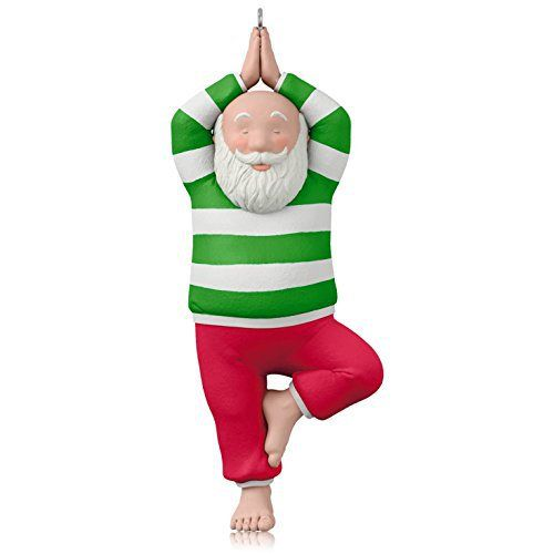 Cute Santa In Tree Pose Ornament Yoga Christmas Cards And Ornaments