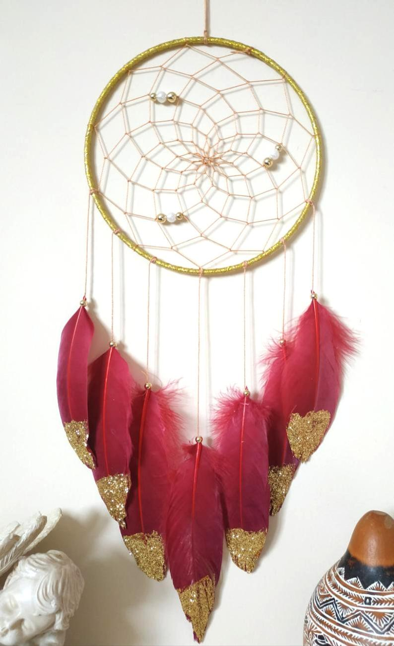 Red Gold Wall Decor Dream Catcher Boho Wall Decor Dreamcatcher Boho Wall Hanging