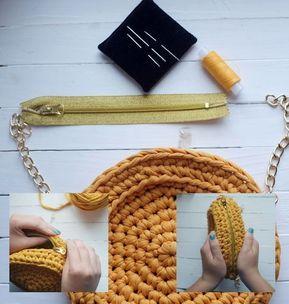 Вязаная сумка «Осеннее солнце» из трикотажной пряжи ...