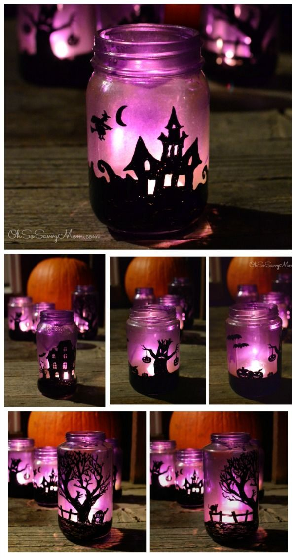 awesome diy upcycled halloween village luminaries craft oh so savvy mom