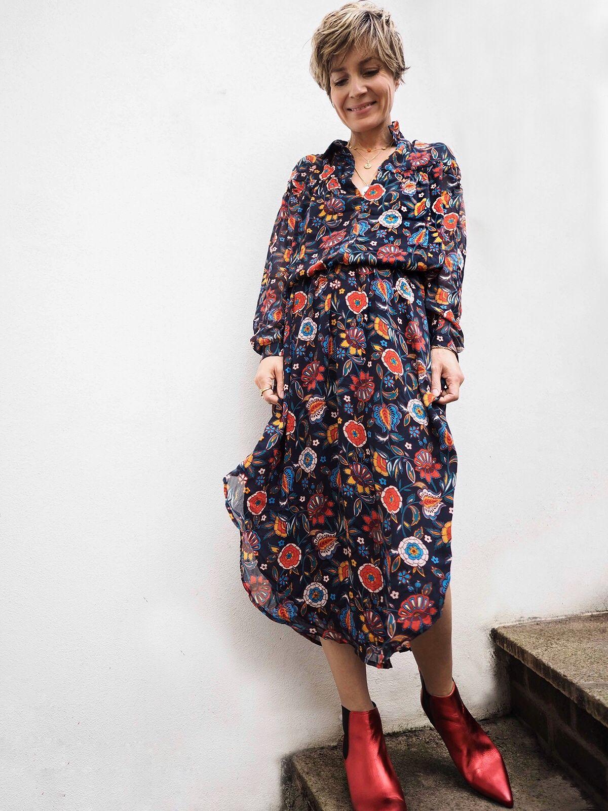 c62cfe2344ab Stylonylon Edit | Hush Homewear AW18 | Floral dress & red metallic boots |  Kitten heels