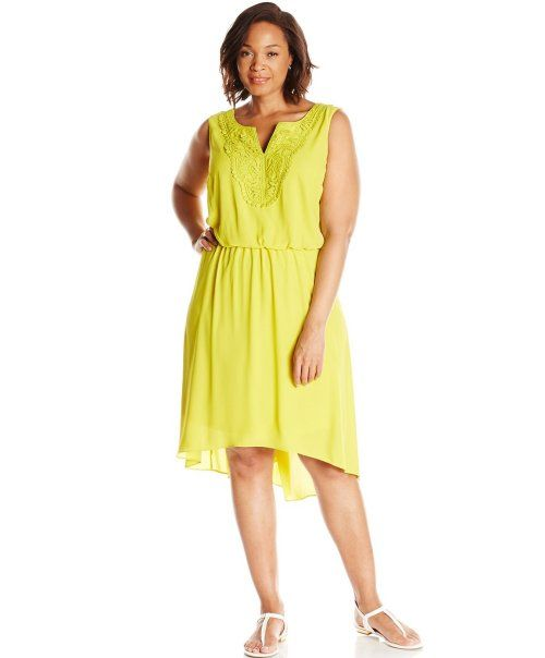 edcf26b890 7 Cheap Sundresses for Plus Size Girls You Will Love  Casual cheap plus size  high low lime sundress by London Times (Shop style HERE)