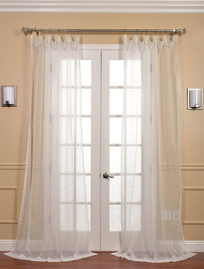 Solid Off White Voile Poly Sheer Curtain Pair 2 Panels Sheer