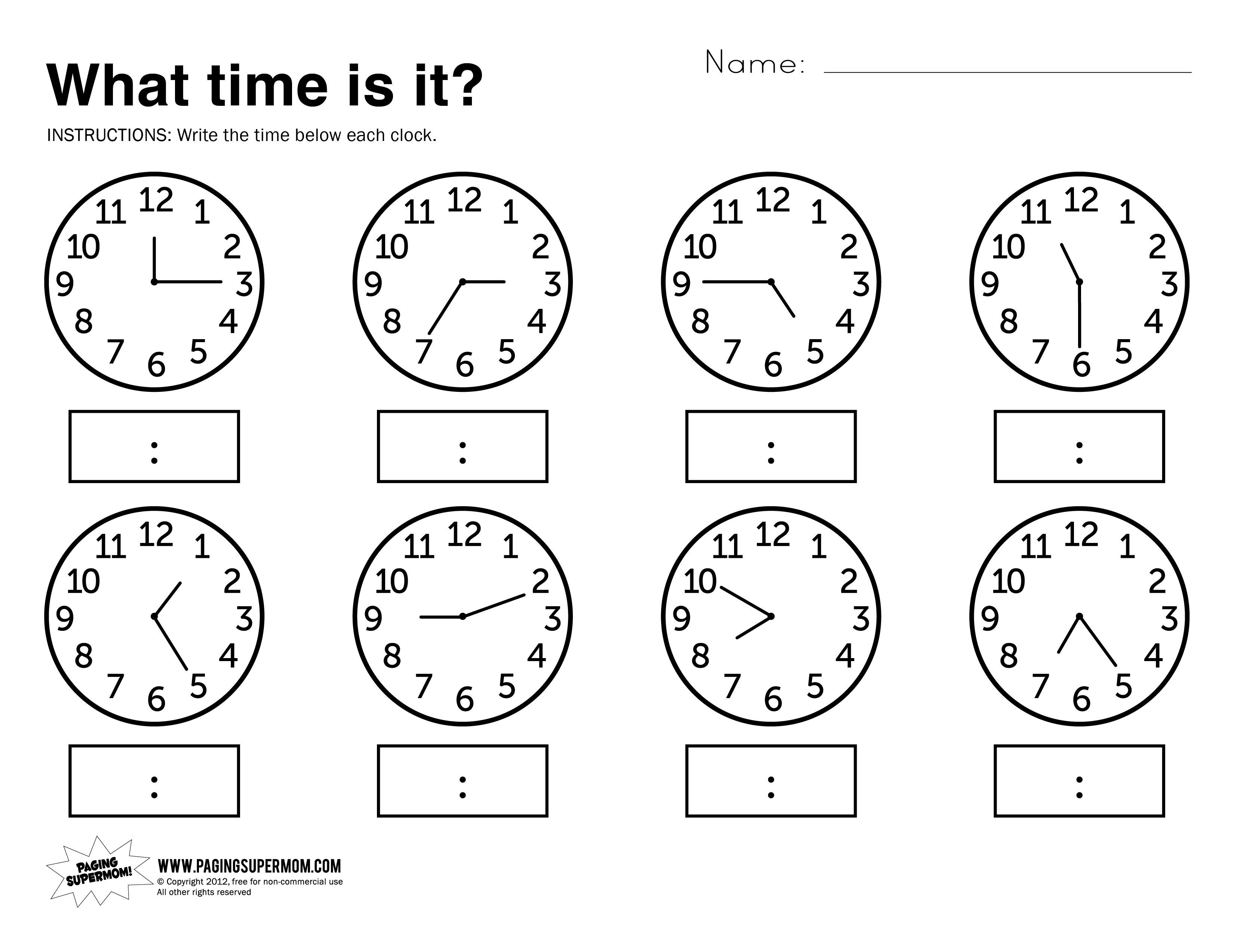 Telling Time Worksheets Free Printable
