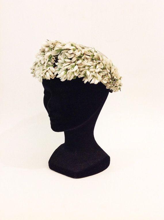 Vintage 50 s 60 s allume chapeau bibi floral vert et Ivoire