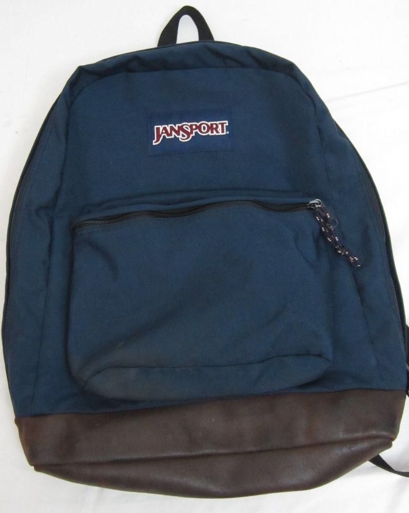 Vintage Jansport Blue Suede Leather Bottom Backpack Hiking Book ...