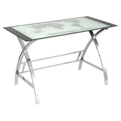 powell furniture world map writing desk
