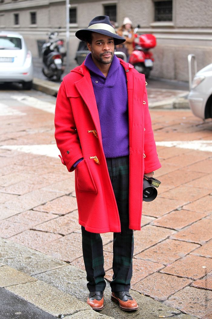 Men's Red Duffle Coat, Violet V-neck Sweater, Dark Green Plaid ...
