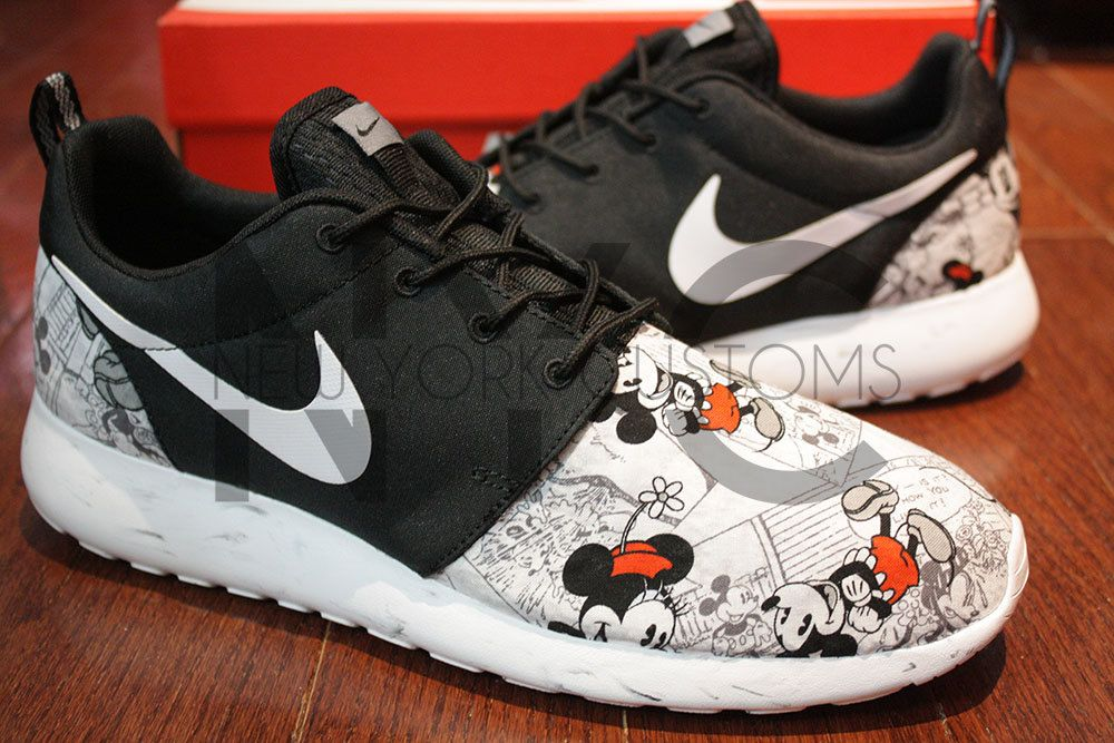 11627df720ea Free Shipping -- Nike Roshe Run Black Marble Vintage Comic Mickey Minnie V5  Edition Custom